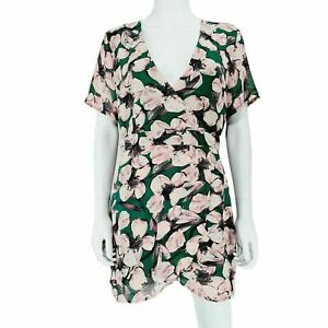 Missguided Dress UK 12 Green Pink Floral V Neck