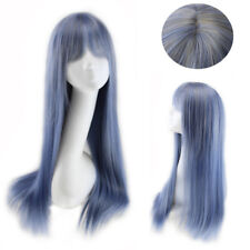 Long Cosplay Wig Yurisa  Harajuku Lolita Straight Blue Mix Grey Gradient Wig