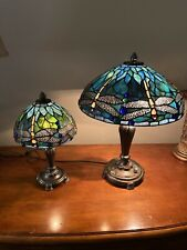 Pair of Vintage Tiffany Style Jeweled dragonfly Lamps Pretty greens and blues