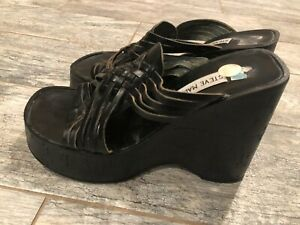 Steve Madden Leather Wedges Shoes Slip On Heels Slip On 39 8.5 M Black braided