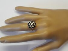 Blue SAPPHIRE DIAMOND large dome CLUSTER 9ct yellow gold RING split shoulder
