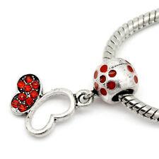 Red Rhinestone Butterfly July Birthstone Dangle Charm for European Bead Bracelet