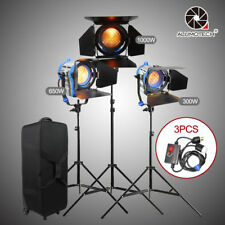 As Arri 300+650W1000W Studio Fresnel Tungsten Spot light+Case+Stands+Dimmers Kit
