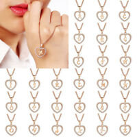 Fashion Women Crystal Gold Alphabet Letter A-Z Love Heart Pendant Chain Necklace