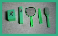 Vanity Set X 5 (Brushes-Mirror-Soap case) Plastic Vintage Made in W. Germany 80s