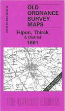 Mapa antiguo Ordnance Survey Ripon Thirsk Topcliffe coxwold Kilburn Sowerby WATH 1891