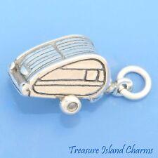 TRAVEL TEARDROP CAMPING TRAILER CAMPER CARAVAN 3D .925 Sterling Silver Charm