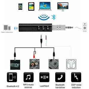 Bluetooth Receiver 3.5mm AUX Audio Stereo Adapter Home Car Handfree UK