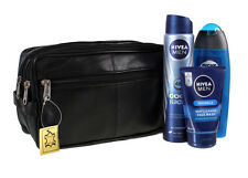 JUMBO - toilet bag extra large, Genuine Real Leather Mens Wash Bag 20015