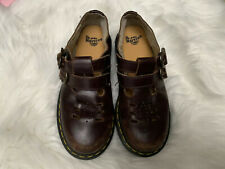 Dr Martens Girls Size 3 Mary Jane Leather Double Buckle Distressed Airway