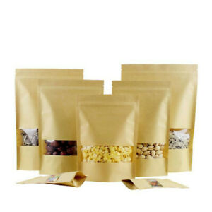 10pcs Kraft Paper Bag Zip Lock Sealable Seal stand UP Food Storage Packing Pouch
