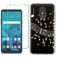 TPU Phone Case for LG Stylo 5 w/ Tempered Glass - Music Notes / Black