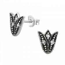 925 Sterling Silver Cubic Zirconia Bali Tulip Stud Earrings