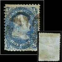 U.S Scott #86 1867 1c Blue E Grill B.Franklin Slightly Gummed Perf. Cancelled
