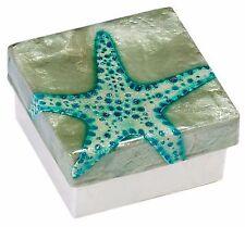 "Capiz Shell Box with Starfish, Airbrushed By Hand, Decorative Box, 3"""