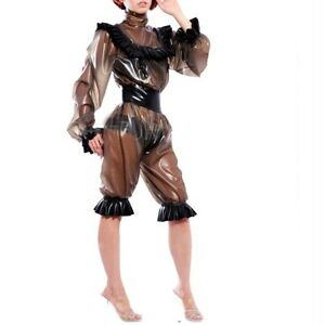 Latex Gummi Rubber Bodysuit Catsuit Overall Ganzanzug Beiläufig Sexy Jumpsuit