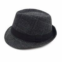 Men's Dark Glen Check Fall/ Winter Fedora (H171360-BLK)
