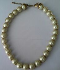 Retired LIA SOPHIA BUBBLE BATH Gold Tone Faux Pearl Choker Necklace