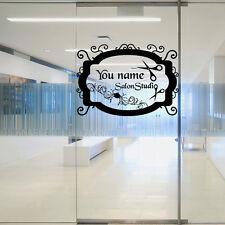 Wall Decal Sign Hair Salon Beauty Signboard Inscription First Custom Name M1396