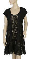 140452 New Odd Molly Crochet Lace Floral Embroidered Kimono Black Dress M 2