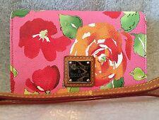 Dooney & Bourke Floral Wristlet Rose Garden Wallet Pink Red Leather