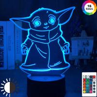 3d Led Night Light Star Wars Baby Yoda Meme Figure Nightlight for Kids Child