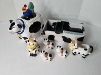 Vintage Kitchen Ceramic Cow Sugar, Creamer Set with Cookie Jar