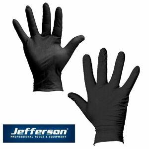 Jefferson Gecko Grip Black Disposable Nitrile Gloves Box of 50