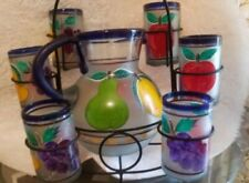 Set of glasses and pitcher handmade blown glass with rach.