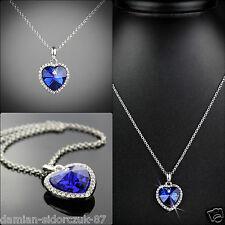 Titanic Herz des Ozeans Kette Blau Anhänger Halskette vergoldet Geschenketui/061