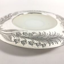 Antique 1860-1885 Sheffield Silverplate Milk Glass Insert Dish by Walker & Hall
