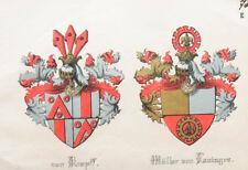 c1880 von Kropff Müller von Lauingen Lithographie-Wappen