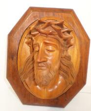 Antique Hand carved Wooden Jesus Christ 3-D Wall Plaque 1937 Saigon Indo China