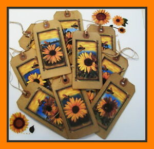SUNFLOWERS AND BEES - PRIMITIVE HANG TAGS - SET OF 12 - BEAUTIFUL