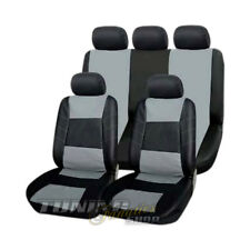 Premium pelle Sintetico Coprisedile Auto Riferimento Sedile Nero-Grigio