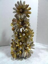 "Foil Lite Reflector Tinsel Christmas Tree 9"" Silver & Gold Flower Beautiful!"