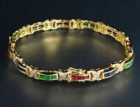 8Ct Princess Cut Diamond Emerald, Sapphire, Ruby 14K Yellow Gold Over Bracelet