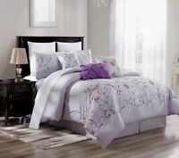 3PC DUVET BED COMFORTER COVER SET LILAC PURPLE EMBROIDERY FLOWERS BRENDA#11