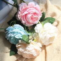 1PC Artificial 1 Head Peony Silk Flower Fake Leaf DIY Home Wedding Party Decor