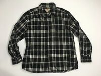 Men's WOOLRICH XL Flannel Long Sleeve Shirt Black White