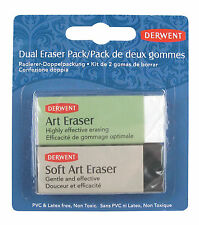 Derwent Dual Art & Soft Eraser Pack Set of 2