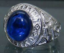Oxford University Blue College Ring 925 Sterling Silver Sapphire 6.9g  Size P