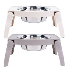 Foldable Elevated Raised Dog Bowls Stainless Steel Food Water Feeder Stand