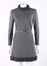 Vtg The Limited Fall 1968 Gray Knit Persian Lamb Fur Belted Shift Cocktail Dress