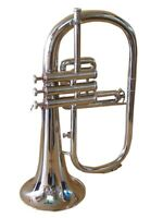 Bb FLUGEL HORN GUARANTEE QUALITY SOUND BAND APPROVED SILVER W/CASE MOUTHPIECE