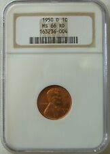 1950-D Lincoln Cent, NGC MS 66 Red