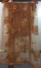 Indian Pakistani Bollywood Net Sequins Heavy Zari Border Designer Hijab Dupatta