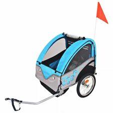 vidaXL Kids' Bicycle Trailer Grey and Blue 30kg Stroller Jogger Pushchair