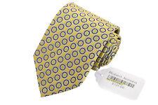 Robert Jensen NWT Silk Necktie in Yellow w/ Dark Blue & White Circles