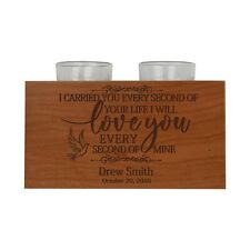 Personalized Memorial Candle Double Holder Solid Wood I Carried You